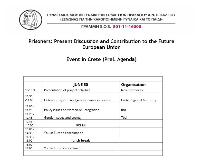 Preliminar schedule - Crete event